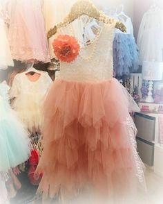Kryss Kouture Veronica Soft White Eyelash Lace with a Blush Long Tutu Skirt - Princess Dress