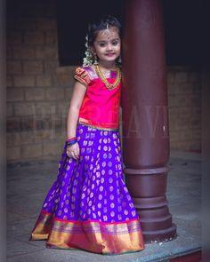 Kids blouse - 13 Handpicked Pattu Pavadai Designs To Dress Up Your Princesses Kids Dress Wear, Little Girl Dresses, Dress Up, Girls Dresses, Kids Gown, Baby Dresses, Kids Wear, Children Dress, Kids Indian Wear