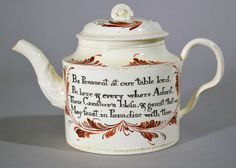 A Rare 18th Century English Creamware Teapot Inscribed with Prayers of Grace | From a unique collection of antique and modern tea sets at https://www.1stdibs.com/furniture/dining-entertaining/tea-sets/