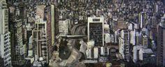 O começo (2012) óleo e esmalte sobre tela (152 x 392 cm)