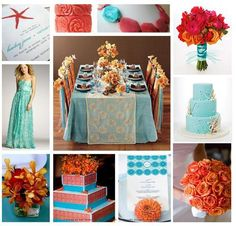 coral and turquoise wedding inspiration...coral could be subbed with another color