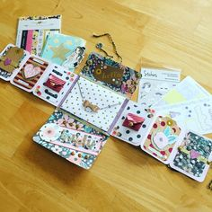 the center envelope is the stamped and addressed one for the RSVP? it would be removable obviously but how cute is that! Scrapbook Bebe, Scrapbook Journal, Mini Scrapbook Albums, Mini Albums, Pen Pal Letters, Pocket Letters, Tarjetas Diy, Snail Mail Pen Pals, Diy And Crafts