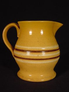 5.25in tall. Ohio Valley 1870s 1880s RARE MOCHA & WHITE BAND PITCHER YELLOW WARE MINT