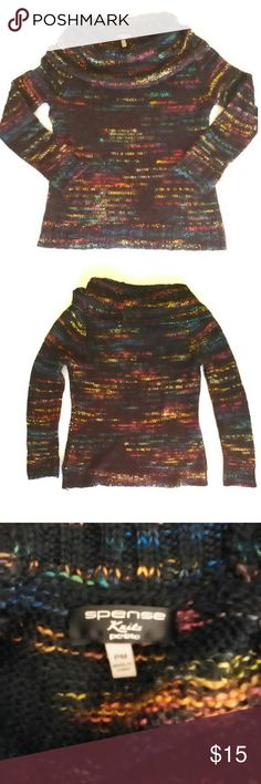 Beautiful Black & Rainbow Knit Cowl Neck Sweater This is a beautiful, like new, worn once, black knit sweater with variegated rainbow designs and a cozy cowl neck. Spense Sweaters Cowl & Turtlenecks