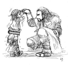 Drawn by sey ... Kili: Look, I'm as tall as you, Daddy! Thorin: I told you already, I'm not your… Fili: And look, Daddy, I'm as strong as you! Thorin: I am not… Fili and Kili: We love you, Daddy! Thorin: I… Well… I love you too, my boys. ... So cute! Kili, dwarf, The Hobbit, Tolkien, Fili, Thorin Oakenshield