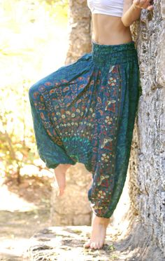 100% Organic Cotton Vibrant Teal Harem Pants with Hand Block Print-Yoga Wear, Lounge Wear, Dance Wear, Spacious, Beautiful Colors auf Etsy, 27,57 €