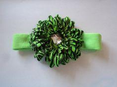 Green/Black Zebra Daisy Headband by cheerfuldianna80 on Etsy, $7.00