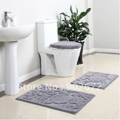 Grey Pom Pom Bath Mat Bathroom Pinterest Bath Mats Bath Mat - Gray and white bath mat for bathroom decorating ideas