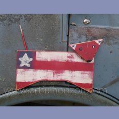 Patriotic Dog Cutout Americana Decor Primitive Folk Art Dog Painting Americana Flag by ArtfulHorizon