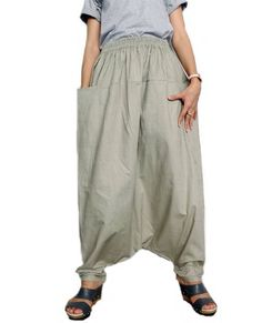 LAGENLOOK LINEN OVERSIZED HAREM BALLOON TIE DYED PANTS*CHARCOAL//GREEN* Size L-XL