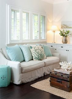 Coastal living Love these Colors/note pillow and coral