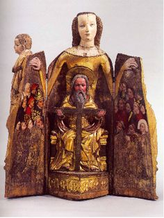 "These pieces are called ""Vierge Ouvrante,"" which roughly translates to ""The Opening Virgin."" They are also known as ""Madonna Shrines."" They were popular in the and centuries. Madonna, Religious Icons, Religious Art, Statues, Spiritus, Mystique, Medieval Art, Blessed Mother, Triptych"