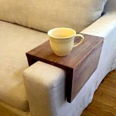 Arm rest table. Such a good idea and so easy.