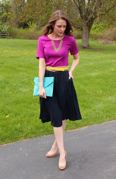 DKNY blouse, Old Navy skirt, Forever 21 belt & necklace, Target cuff, ASOS clutch, BCBG pumps