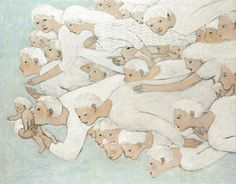 """My favorite Kershisnik. """"Angels"""" Makes me think of all the angels that help bring a new baby to earth."""