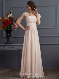 A-Line/Princess Square Short Sleeves Floor-Length Chiffon Dresses With Lace