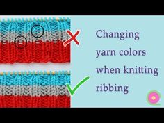 How to knit clean straight stripes in ribbing. No bi-colour purl bumps showing on the right-hand side of your work. A very easy tip. Loom Knitting, Knitting Stitches, Knitting Designs, Free Knitting, Knitting Projects, Crochet Projects, Knitting Patterns, Crochet Patterns, Purl Stitch