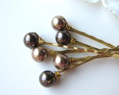 Autumn Pearl Hair Pins Mix 3 Brown Copper and by BellaMiaDesign