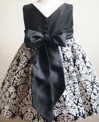 flower girls dress - black and white cotton flower girls dress  #TimelessTreasure