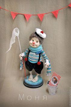 Купить Фаня и Моня - ярко-красный, клоун, клоунесса, текстиль, капрон, каркас