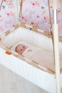Hanging Baby Cradle On A Spring From Natural Materials And Organic Cotton