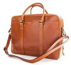 Leather Briefcase Fat Carter Natural | La Portegna