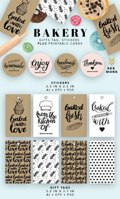 Bakery Printable Cards by Pixejoo on @creativemarket