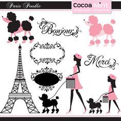 Paris Poodle Digital Clip Art