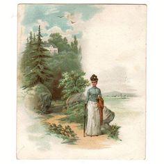 cb749a048f3d3 Mokaska Coffee Antique Victorian Advertising Trade Card Lady in Long Dress