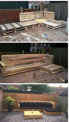 Pallet L-Shaped Sofa for Patio / Couch 101 Pallet Ideas - Sequin Gardens Backyard Projects, Outdoor Projects, Pallet Projects, Home Projects, Backyard Pallet Ideas, Furniture Projects, Furniture Removal, Diy Garden Furniture, Patio Ideas With Pallets