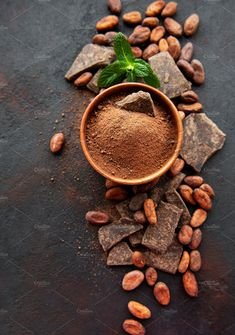 Cocoa powder and beans by Almaje on Creative Market Video Rezept Café Chocolate, Chocolate Powder, Cocoa Plant, Cacao Fruit, Dark Food Photography, Coffee Photography, Funny Coffee Cups, Coffee Poster, Coffee Photos