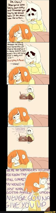Undertale, Asriel, Chara, rickrolled<---Everyone in this fandom is beautiful meme trash, I swear. They're all so talented.