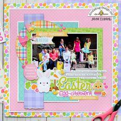 Doodlebug Hoppy Easter - Easter Egg-citement design layout Doodlebug Design Hoppy Easter Odds and Ends Die Cut Cardstock Pieces Paper Bag Scrapbook, Scrapbook Titles, Scrapbook Designs, Scrapbook Sketches, Scrapbook Page Layouts, Baby Scrapbook, Scrapbook Supplies, Scrapbooking Ideas, Scrapbook Organization