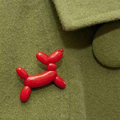 Roscata Fire Engine Red Balloon Dog Sculpture Brooch Pin Handmade Polymer Clay Food Miniature Art Jewelry