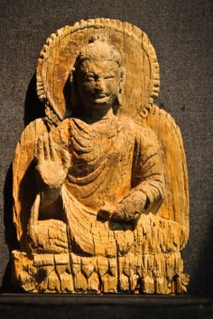 Buddha from Mes Aynak, Afghanistan, wood, 5th century -- this may be the oldest wooden image of the Buddha anywhere!