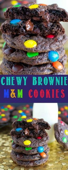 These Chewy Brownie Cookies with M&M's are always met with rave reviews. Chewy, fudgy, brownie-like cookies are loaded with chocolate and M&M candies! #cookies #brownies #candy