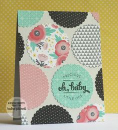 Reverse Confetti | Baby, New Baby Card, Scallops, Circles, Die Cuts, Flowers, Triangles, Polka Dots, Coral, Mint, Black, Gray