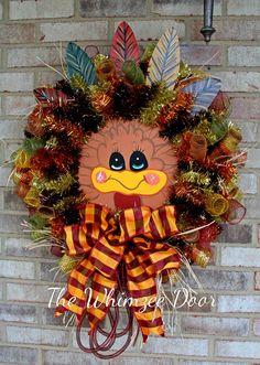 Turkey Wreath, Thanksgiving Wreath, Halloween Wreath, Fall Wreath, Autumn Wreath, Fall Decoration, Holiday Decoration, Thanksgiving Decor by TheWhimzeeDoor on Etsy