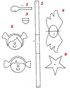 Схема, Трафарет, Шаблон - АНГЕЛ Девочка из бумаги - Игрушки на елку своими руками, Поделки, Подарки к Рождеству, Новому году в технике бумажных шаров