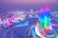 Towering ice palaces at China's Harbin Ice Festival - BBC News Harbin, Snow Sculptures, Metal Sculptures, Bronze Sculpture, Wood Sculpture, Places To Travel, Places To Visit, Travel Stuff, Alaska
