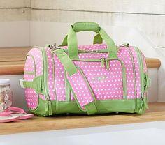 Mackenzie Pink Dot Small Duffle Bag #PotteryBarnKids  $57 with personalization