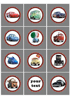 Cars cupcake toppers Disney Cars Cupcakes, Disney Cars Party, Disney Cars Birthday, Car Themed Parties, Cars Birthday Parties, Boy Birthday, Cupcake Toppers Free, Hot Wheels Party, Childrens Party