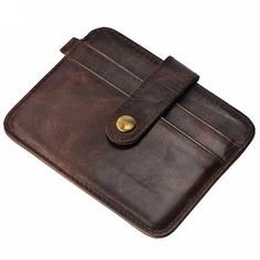 Leather Slim ID Wallet Credit Card Holder Button Case