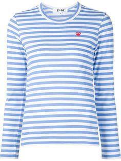 4e91533b1417 Comme Des Garçons Play T-shirt Rayé à Logo Brodé - Farfetch