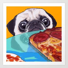 "Hungry Pug by BCollective | Make a blank space pop with rad Art Prints. Better yet, start a gallery wall and mix Art Prints, posters, Canvas Prints and Framed Prints of all sizes to elevate your space with design. Available in five sizes, from mini to x-large.  Gallery quality Giclée print.  Natural white, matte, ultra smooth background.  100% cotton, acid and lignin-free archival paper.  Epson K3 archival inks for high-quality print.  Custom trimmed with 1"" border for framing."