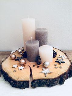 Adventkranz auf Holzscheibe - #Adventkranz #auf #Holzscheibe
