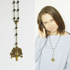 SALE Tree Of Life // Necklace metal brass beads of by OhKsushop