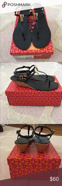 Tory Burch Demi Wedge Sandal Tory Burch Demi Wedge sandal in black patent calf leather. EUC, only worn once for about an hour. Tory Burch Shoes Sandals