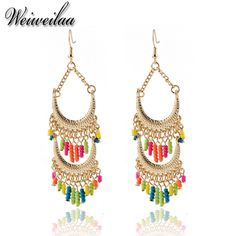 Aliexpress.com : Buy New Arrive Trendy Jewelry Women's Earrings Bohemian Style Gold Plated Statement Earrings Colorful Beads Pendant Women Earring from Reliable beaded jewelry india suppliers on summer jewelry wholesale mall  | Alibaba Group