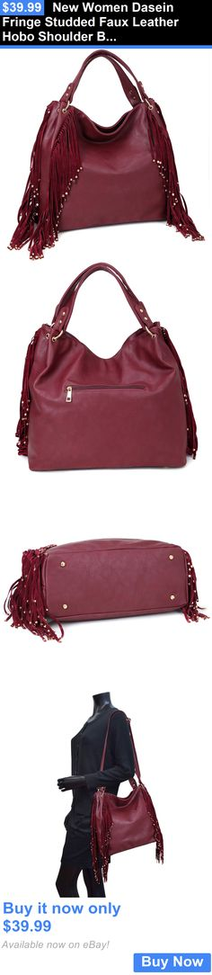 Women Handbags and Purses: New Women Dasein Fringe Studded Faux Leather Hobo Shoulder Bag BUY IT NOW ONLY: $39.99